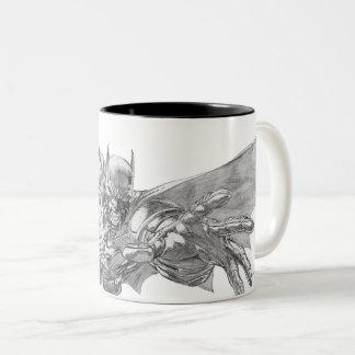 Batman die Voorwaartse Tekening 2 uitvallen Tweekleurige Koffiemok