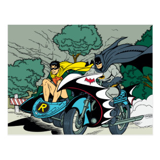 Batman en Robin in Batcycle Briefkaart