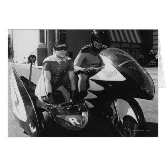 Batman en Robin in Batcycle Wenskaart