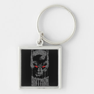 Batman met Mantra Zilverkleurige Vierkante Sleutelhanger