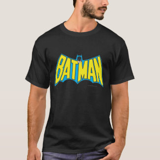 Batman | Vintage Geel Blauw Logo T Shirt
