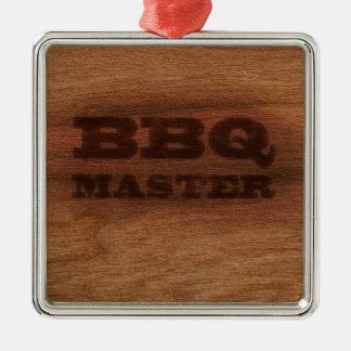 BBQ Meester Zilverkleurig Vierkant Ornament