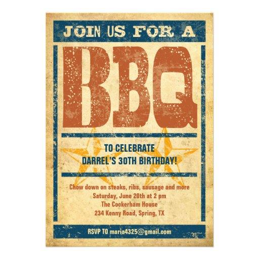 BBQ van de verjaardag Uitnodigingen
