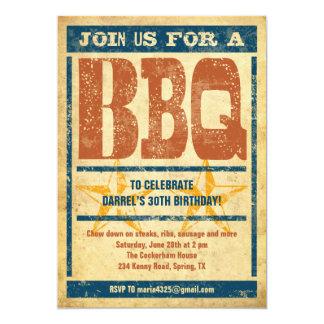 BBQ van de verjaardag Uitnodigingen 12,7x17,8 Uitnodiging Kaart