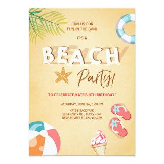 BBQ van de Verjaardag van het Strand van de 12,7x17,8 Uitnodiging Kaart