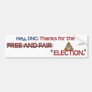 """Bedankt DNC, voor de """"verkiezing """" Bumpersticker"""