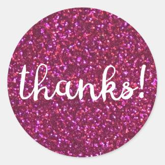 Bedankt! Het roze van Faux schittert sticker