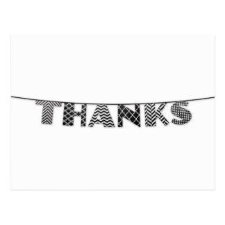Bedankt in Gevormde Zwart-wit Bunting Briefkaart