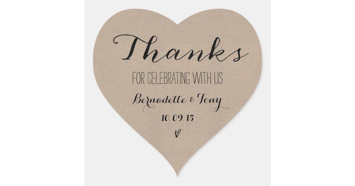 Bedankt Tekst Huwelijk : Bedankt voor het vieren met ons huwelijk hart sticker
