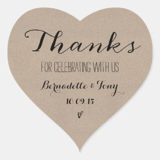 Bedankt voor het Vieren met ons! Het huwelijk Hartvormige Stickers
