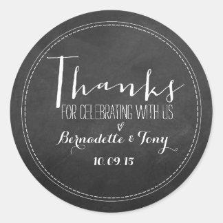 Bedankt voor het Vieren met ons! Het huwelijk Ronde Sticker