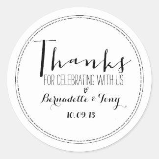 Bedankt voor het Vieren met ons! Het huwelijk Ronde Stickers