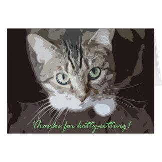 Bedankt voor kat-zit briefkaarten 0