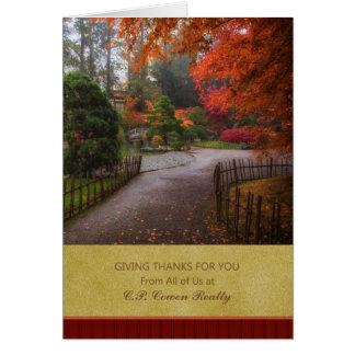 Bedrijfs Thanksgiving - de Weg van de Herfst Wenskaart