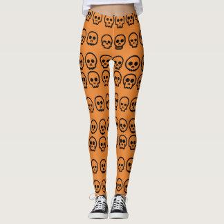 Beenkappen van de Schedel van Halloween de Oranje Leggings