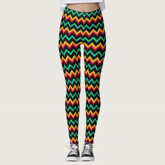 beenkappen van het zigzag de stikkende patroon leggings