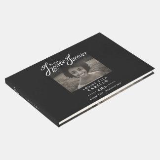 Begrafenis gastboek in onze harten zwarte witte