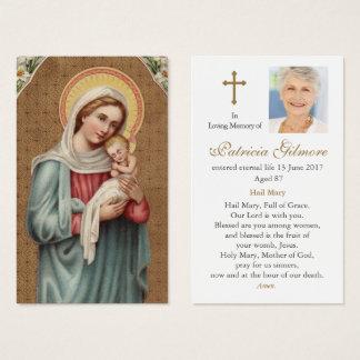 Begrafenis Kaart | van het Gebed Vergine Santa Visitekaartjes