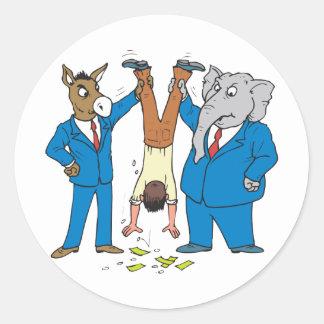 Beide Partijen zuigen Ronde Sticker