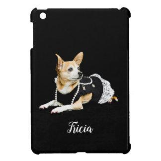 Beige geschilderde glam chihuahua op zwarte hoesjes voor iPad mini