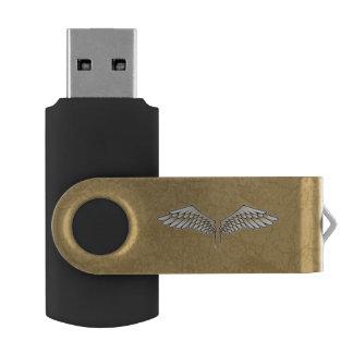 Beige vleugels swivel USB 2.0 stick