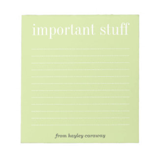 Belangrijk groen gevoerd het memorandumstootkussen notitieblok