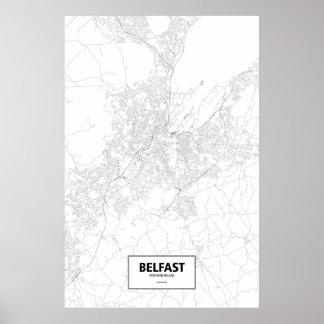 Belfast, zwart Noord-Ierland (op wit) Poster