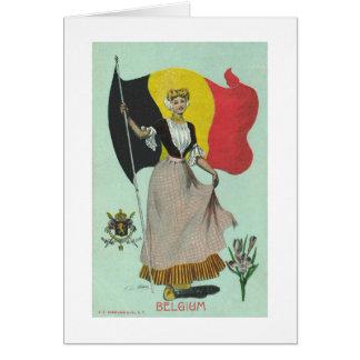 Belgische Dame & Vlag - de Vroege jaren 1900 Kaart