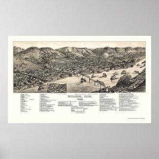 Bellaire, OH Panoramische Kaart - 1882 Poster
