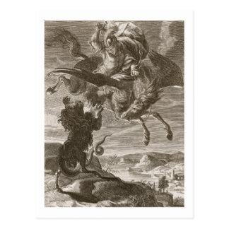 Bellerophon bestrijdt Chimère, 1731 (gravure) Briefkaart