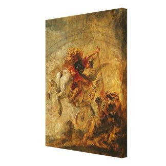 Bellerophon die Pegasus berijden die de Chimère be Stretched Canvas Prints