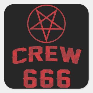Bemanning 666 Pentagram Vierkant Sticker