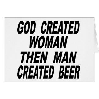 Bemant de god Creëere Vrouw dan Creëer Bier Wenskaart