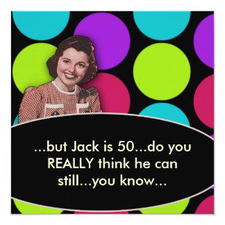 Bemant de Grappige Retro 50ste Partij van de 13,3x13,3 Vierkante Uitnodiging Kaart