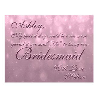 Ben Mijn Bruidsmeisje | blozen Bokeh Briefkaart