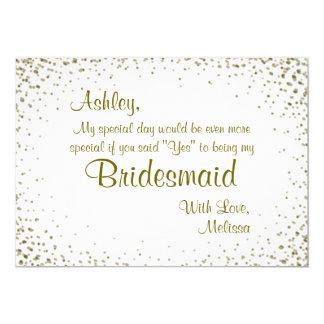 Ben Mijn Bruidsmeisje   Gouden Confettien 12,7x17,8 Uitnodiging Kaart
