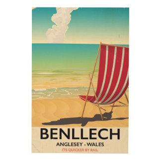 Benllech, vintage de reisposter van Anglesey Wales Houten Canvas Print