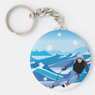 Bergaf Skiër Keychain Sleutelhanger