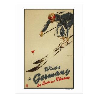Bergaf Skiër - Sport en Genoegen Promo Briefkaart