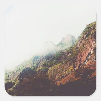 Bergen, de Ontspannende Scène van het Landschap Vierkante Sticker