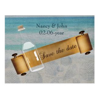 Bericht in een Huwelijk van het flessenStrand Briefkaart