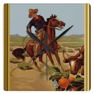 Berijd hen cowboy vierkante klok
