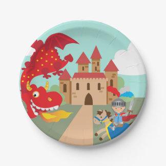 Berijdende Ridder en Rode Vliegende Draak Papieren Bordje