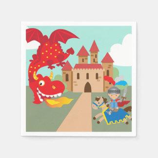 Berijdende Ridder en Rode Vliegende Draak Wegwerp Servet