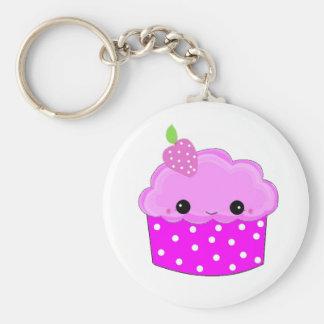 Berijpte Paarse Smiley Cupcake Basic Ronde Button Sleutelhanger