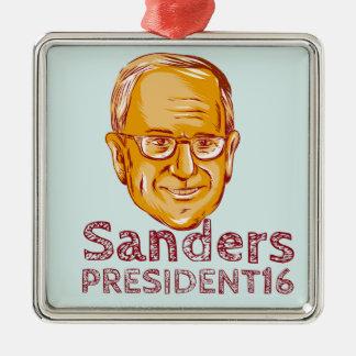 Bernie Sanders President 2016 Zilverkleurig Vierkant Ornament