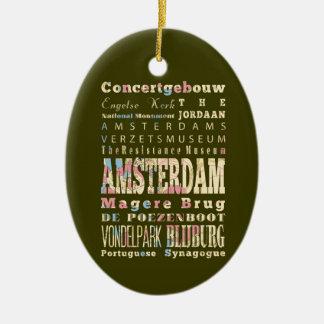 Beroemde Plaatsen van Amsterdam, Nederland Keramisch Ovaal Ornament