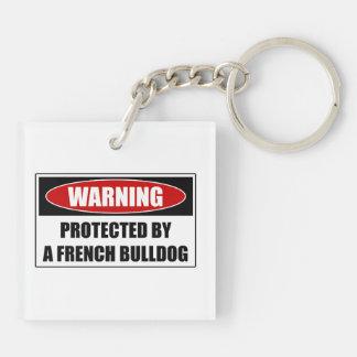 Beschermd door een Franse Buldog 2-Zijden Vierkante Acryl Sleutelhanger