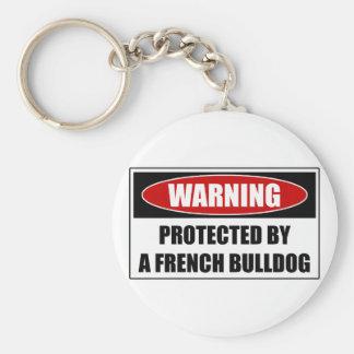 Beschermd door een Franse Buldog Basic Ronde Button Sleutelhanger