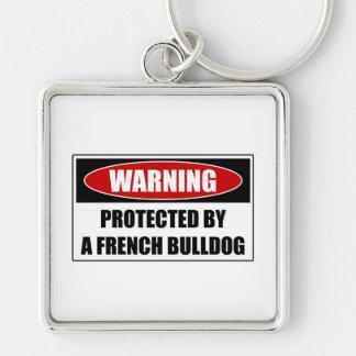 Beschermd door een Franse Buldog Zilverkleurige Vierkante Sleutelhanger